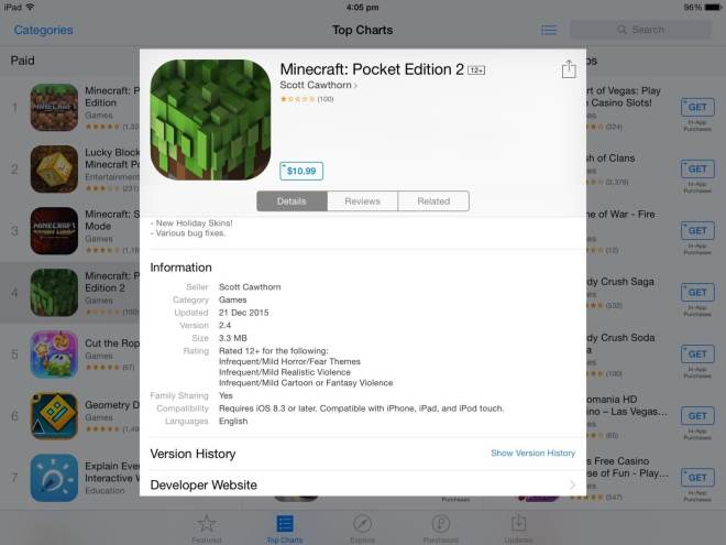 Betrug mit Minecraft: Pocket Edition 2