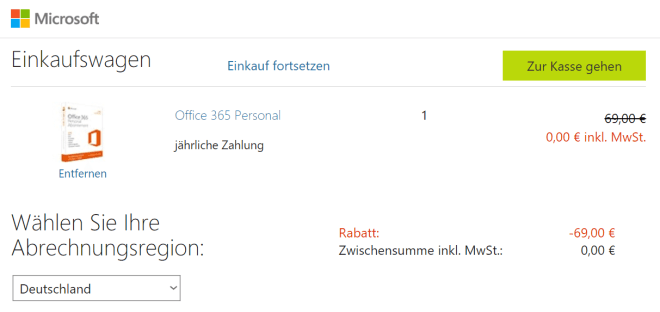Office 365 Personal Aktionsangebot