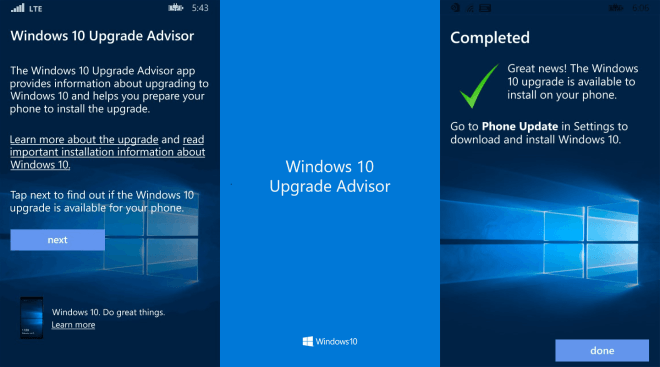 Upgrade Advisor f�r Windows 10 Mobile