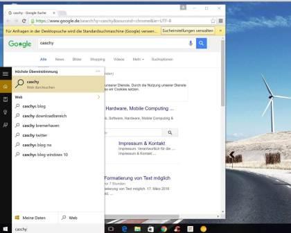Windows 10: Chrome Windows-Desktopsuche weiterleiten