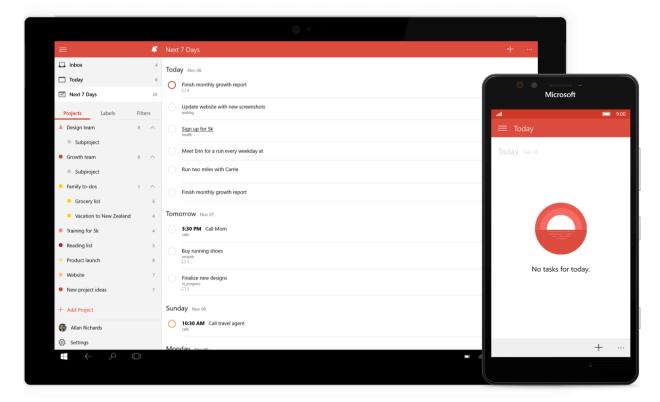 Todoist: To-Do-Listen-App für Windows 10