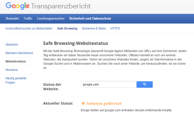Safe Browsing-Websitestatus: Warnung vor Google.com