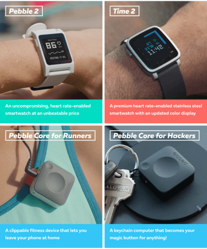Pebble 2, Time 2 und Pebble Core
