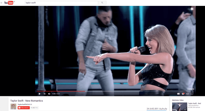Taylor Swift auf YouTube