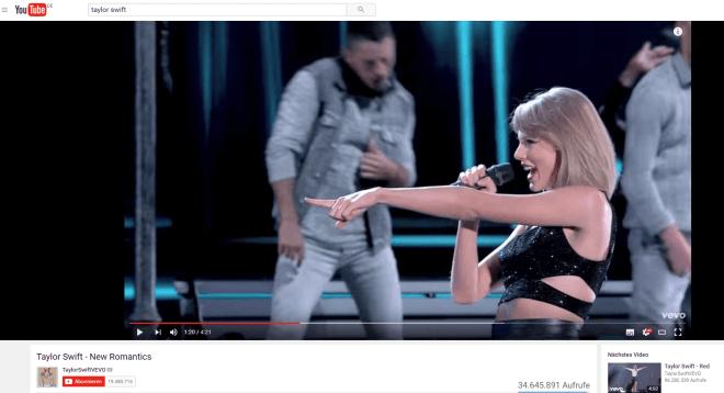 Taylor Swift auf YouTube