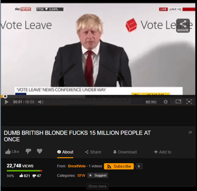 Boris Johnson auf Pornhub