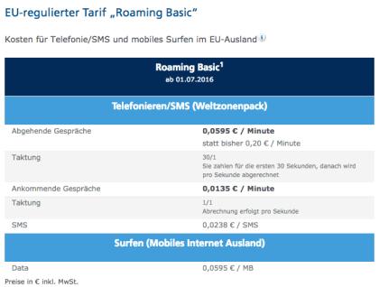 "O2: EU-regulierter Tarif ""Roaming Basic"""