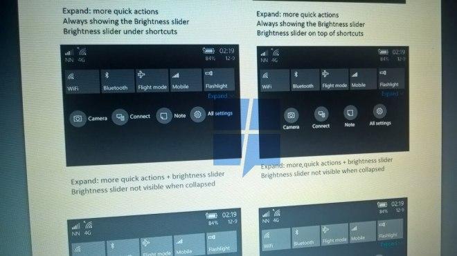 "Windows 10 Mobile ""Redstone 2"" Action Center Überarbeitung"