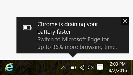 Anti-Chrome-Werbung im Windows 10 Info-Center