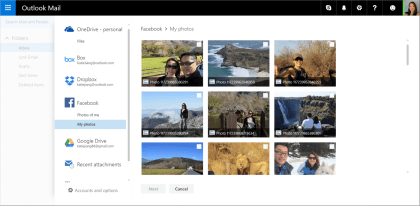 Outlook.com: Support für Google Drive und Facebook-Fotos