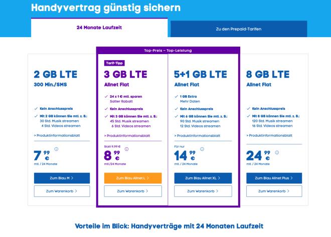 Telefonica Blau: Neue Prepaid-Tarife