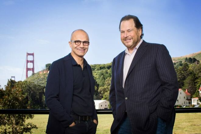 Microsoft & Salesforce Partnerschaft - Satya Nadella & Marc Benioff