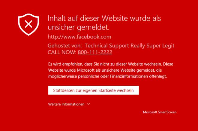 Microsoft Edge: SmartScreen-Support-Scam