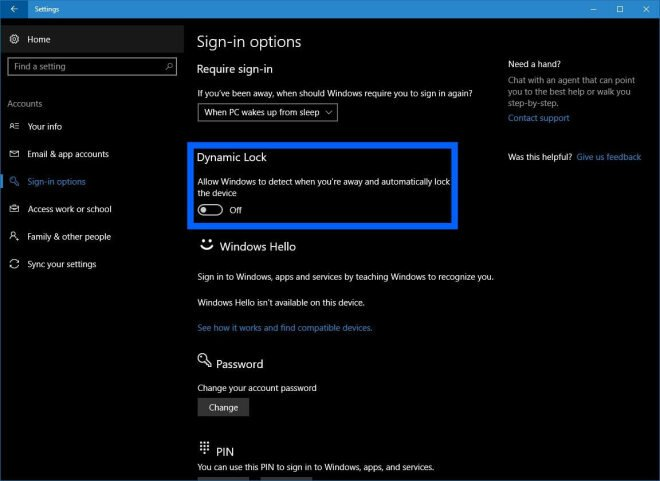 Windows 10:Dynamic Lock