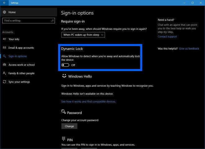 Windows 10:Dynamic Lock