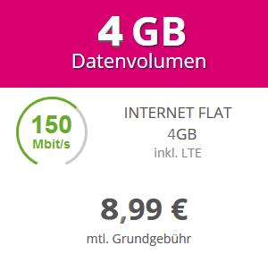 Mobilcom-Debitel Telekom Daten-Tarif 4 GB LTE, bis zu 150 Mbit/s, bestes D-Netz, keine Datenautomatik, EU-Roaming