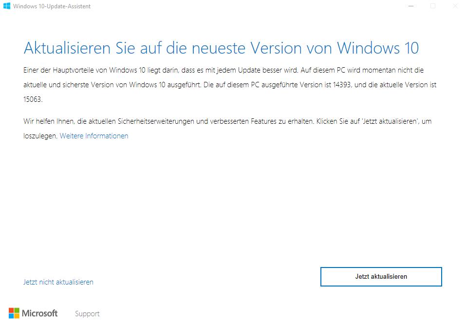 Windows 10 Creators Update: Update-Assistent