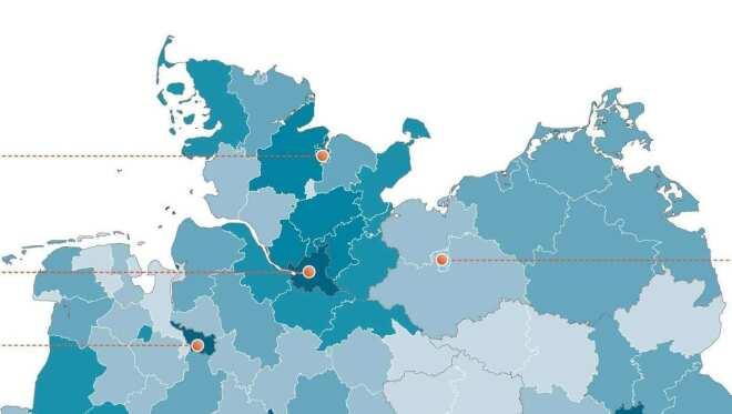 So sind die registrierten .de-Domains aufs ganze Land verteilt