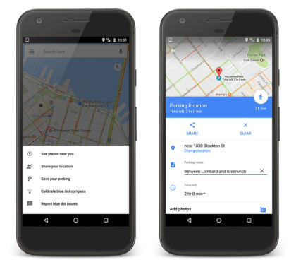 Google Maps Parkplatz-Speicherung