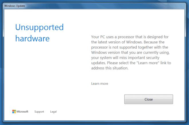 Windows Update Sperre bei älteren CPUs