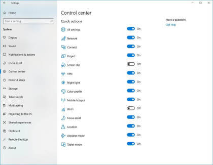 Control Center in Windows 10