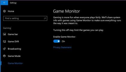 Windows 10 Game Monitor