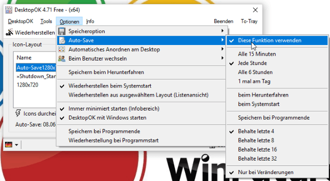 Iconpositionen am Desktop sichern