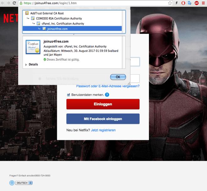 Phishing-Warnung Netflix