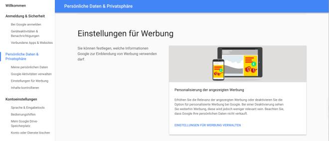 Google Gmail Privateinstellungen