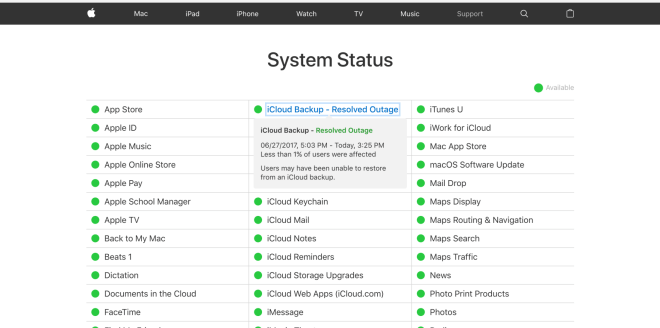 iCloud Ausfall Juni 2017