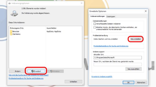 Windows-Suchindex neu erstellen
