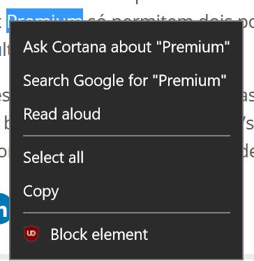 Google-Suche per Kontextmenü in Microsoft Edge
