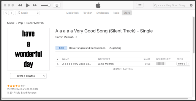 A a a a a Very Good Song (Silent Track) auf iTunes