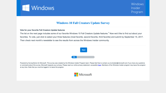 Windows 10 Fall Creators Update Survey