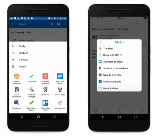 outlook add-ins android