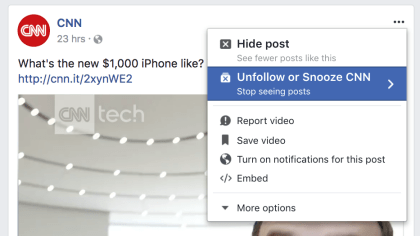 Facebook Snooze-Funktion