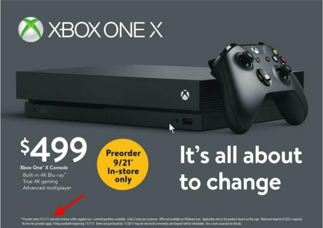 Walmart Xbox One X Vorverkauf