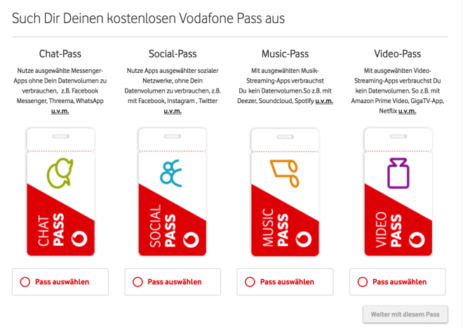 Vodafone: Neue Tarife mit Pass