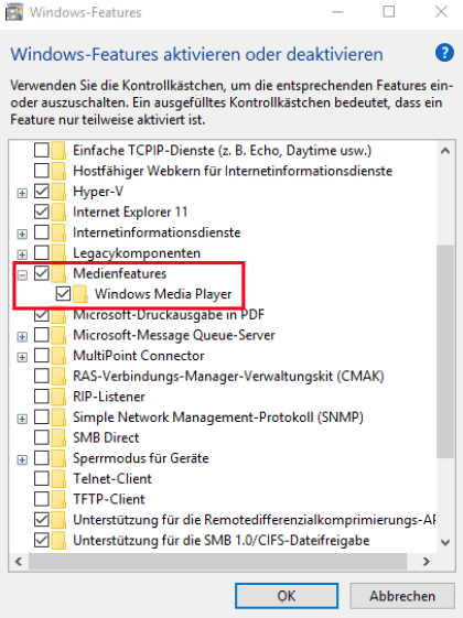 Windows Media Player (de)aktivieren