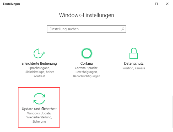 Windows 10 Fall Creators Update unterdrücken