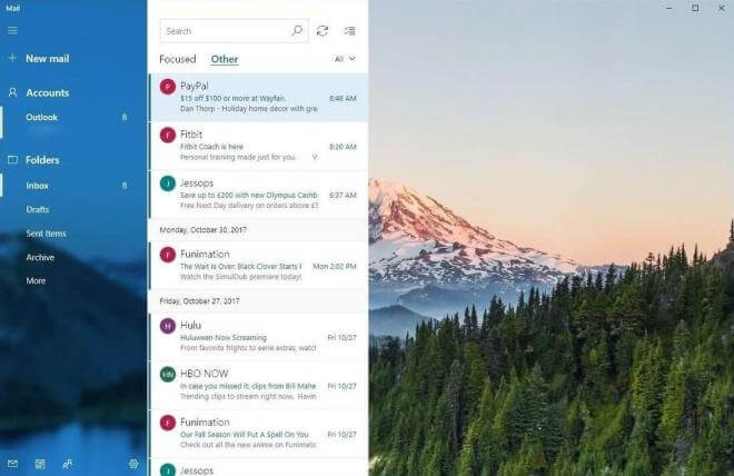 Windows 10 Mail Fluent Design