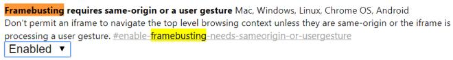 Google Chrome Framebusting Einstellung