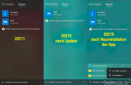 Windows 10 Kontakte-App