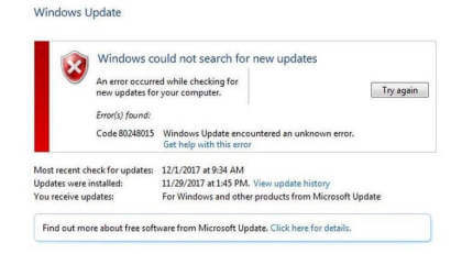 Windows 7 Error 80248015
