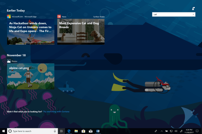 Windows 10 Build 17063 - Timeline