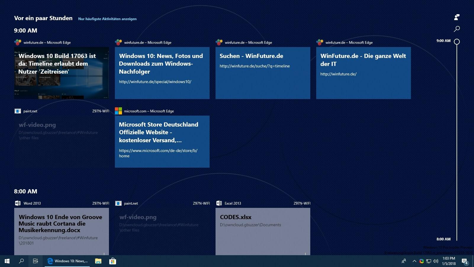 Windows 10 Build 17063 - Timeline