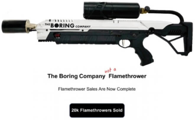 The Boring Company Flammenwerfer