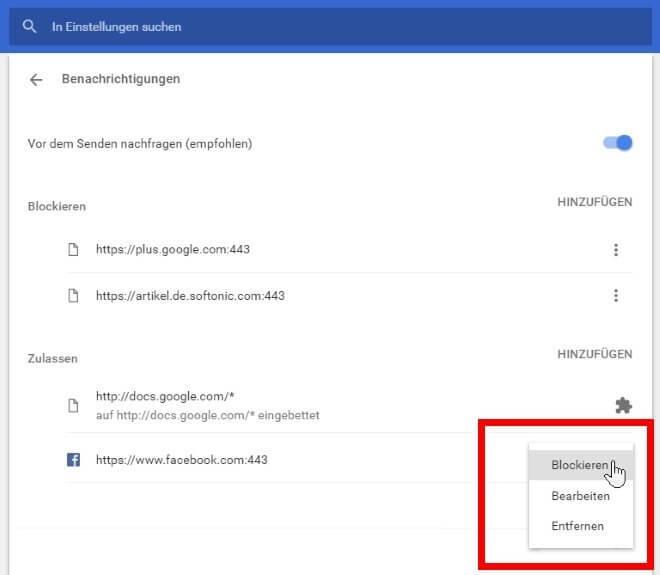 Google Chrome Benachrichtigungen deaktivieren