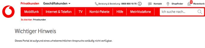 Vodafone: Netzsperren