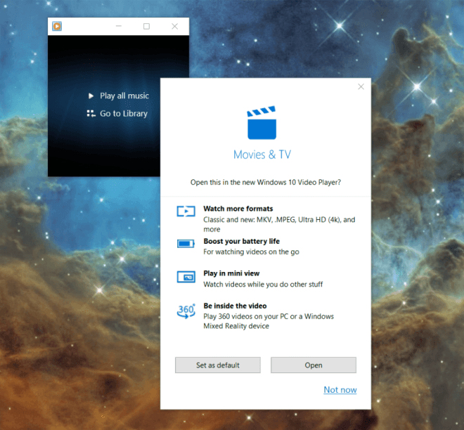 Windows 10 Wechsel zu Filme & TV